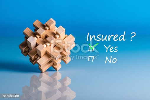 istock Insure concept. Survey with question Insured? Yes or no. Car, life insurance, home, travel and healt insurance 887483088