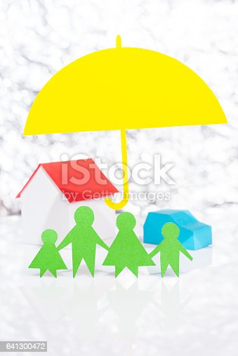 958039576 istock photo Insure the family, car and house 641300472