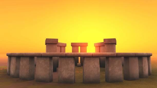 3D intact Stonehenge at dawn stock photo