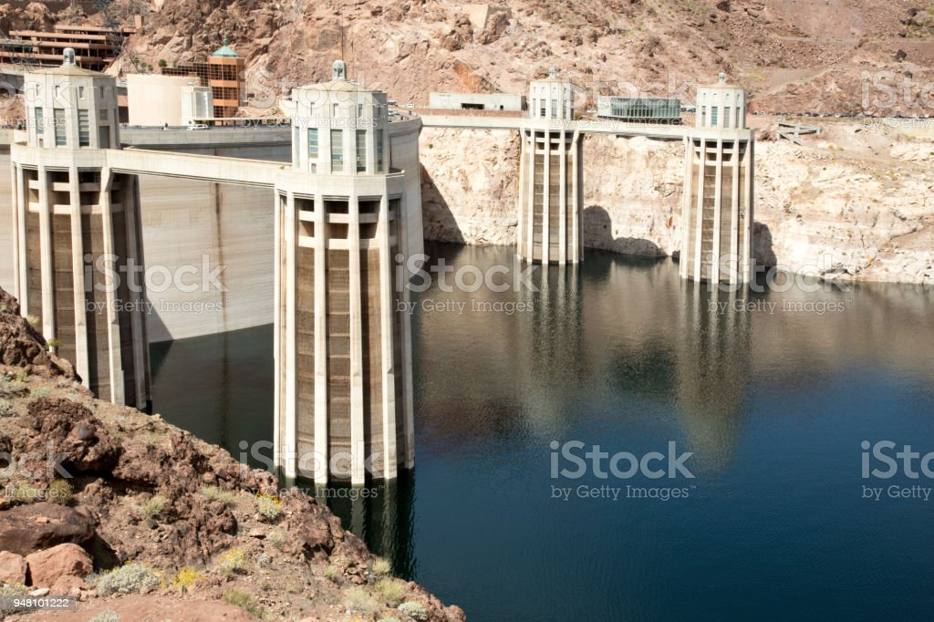 Intake towers at Hoover Dam, Lake Meade, USA stock photo
