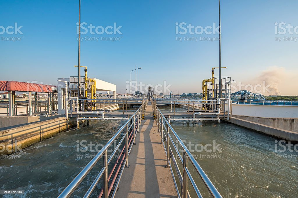 Intake water with Chemical addition process in Water Treatment P stock photo