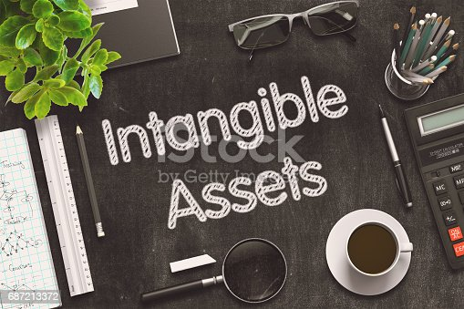 istock Intangible Assets - Text on Black Chalkboard. 3D Rendering 687213372