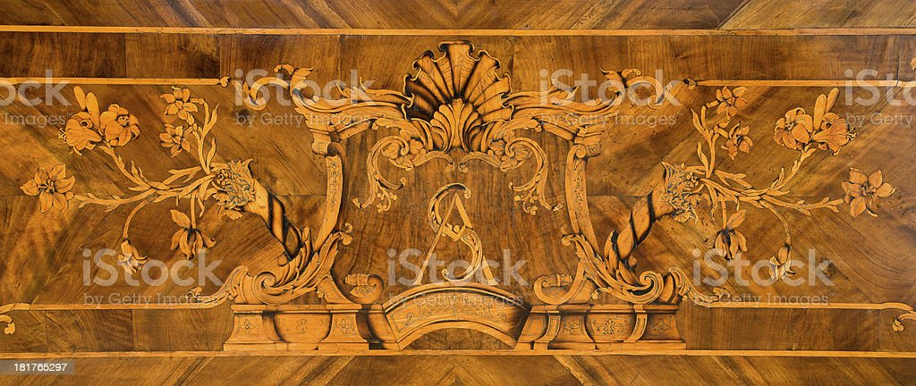 intarsia from side altar of Capucins church stock photo