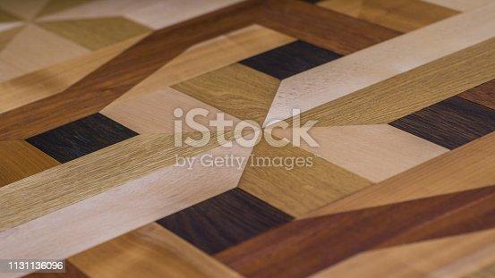Intarsie parquet as parquet floor, design from several wood species, oak, maple, cherry tree, beech, ash