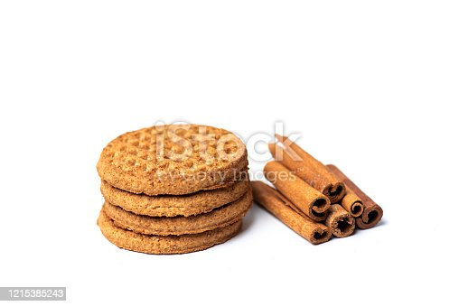 Integral wheat cookie biscuits isolated on white background