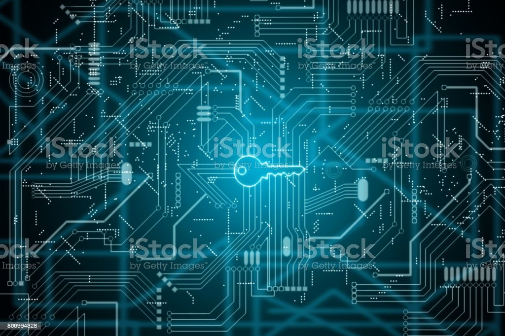 integrated key in electronic computer circuit board stock photo
