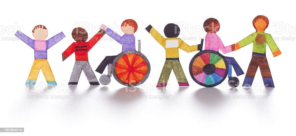 Integration von behinderten Menschen-Papier Aussparungen – Foto