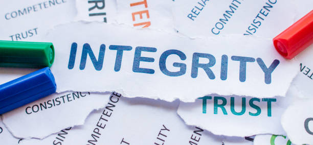 integrity banner, consistency,commitment,reliability,trust,competence,sincerity - transparency imagens e fotografias de stock
