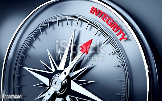 istock Integrity Text is Pointing By A 3D Compass Needle 1225970392
