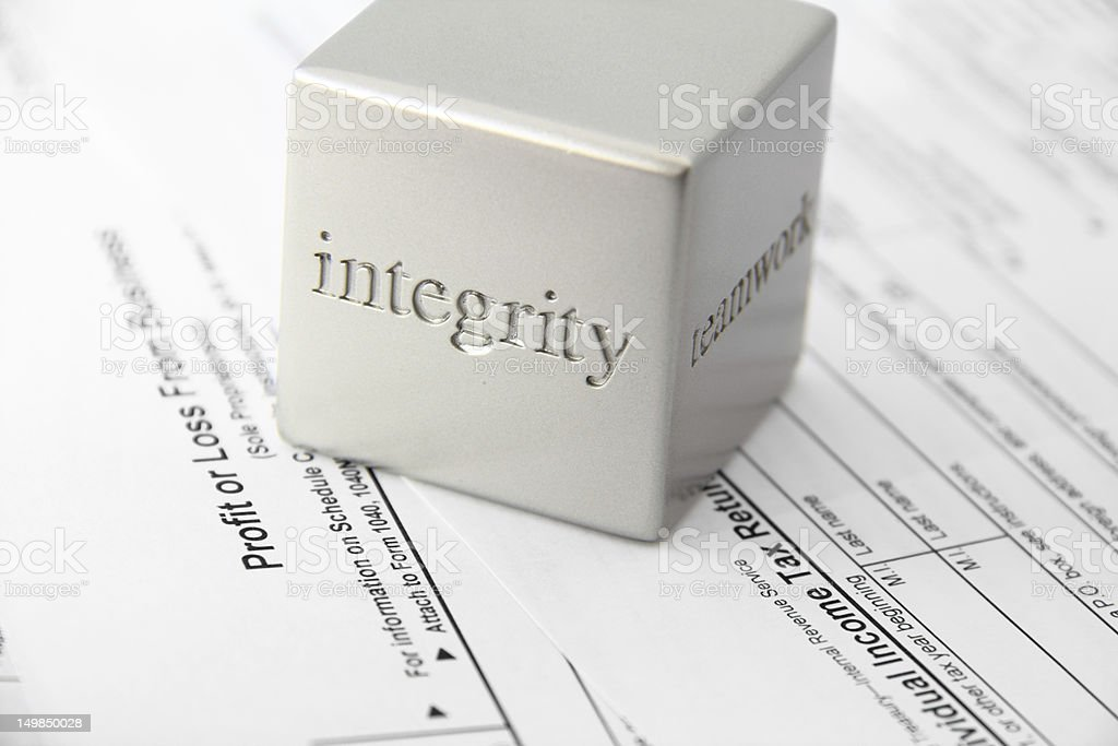 Integrity with tax preparation stock photo