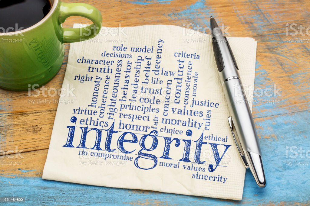 integrity word cloud on napkin with coffee stock photo