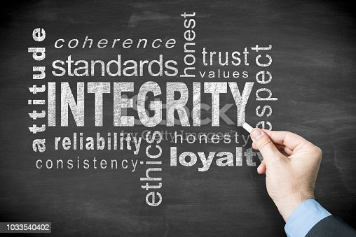 Hand drawing 'Integrity' related word cloud in white letters on a blackboard. The word 'Integrity' is in the center and approximately 12 words surround it and are positioned both horizontally and vertically.