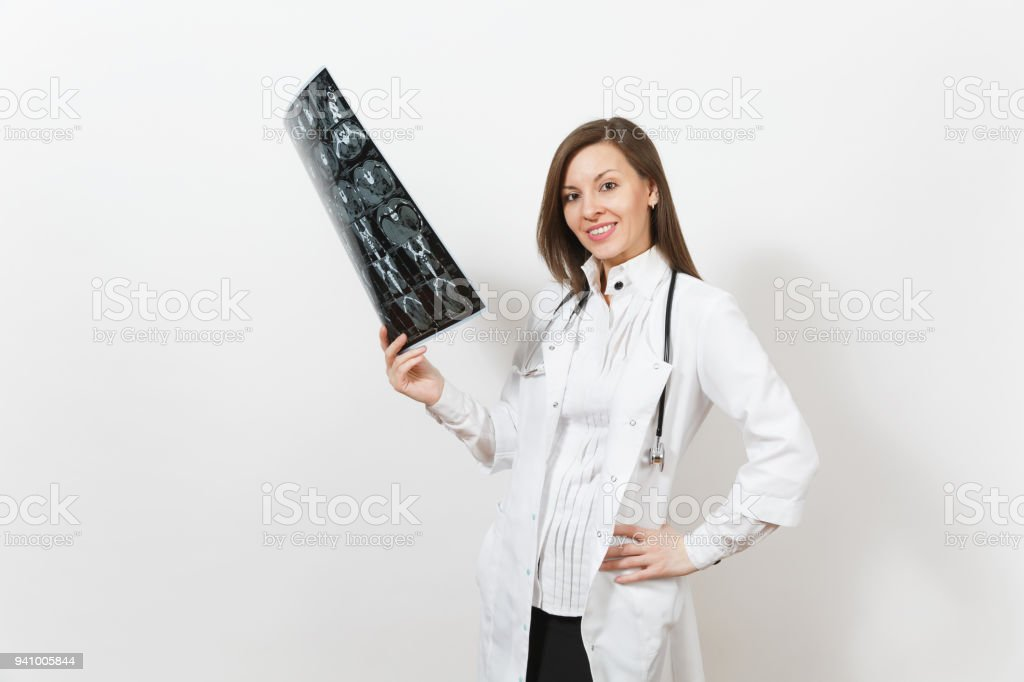 Intellectual Doctor Woman Holds Xray Radiographic Image Ct Scan Mri ...