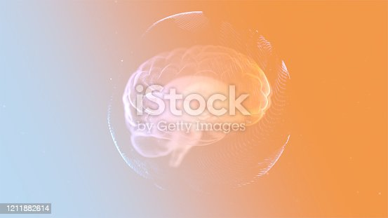 istock Intellectual property concept. 3d render animated brain inside protection sphere over orange background. 1211882614