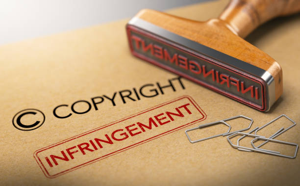 Intellectual Property Rights Concept, Copyright Infringement 3D illustration of rubber stamp with the words copyright and infringement over kraft paper background, Concept of intellectual property. intellectual property stock pictures, royalty-free photos & images