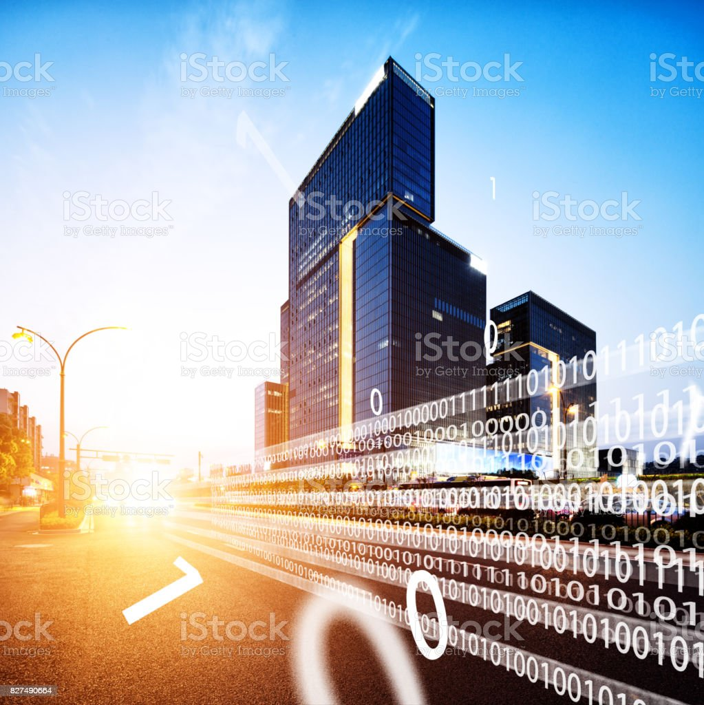intelligence traffic in midtown of modern city stock photo