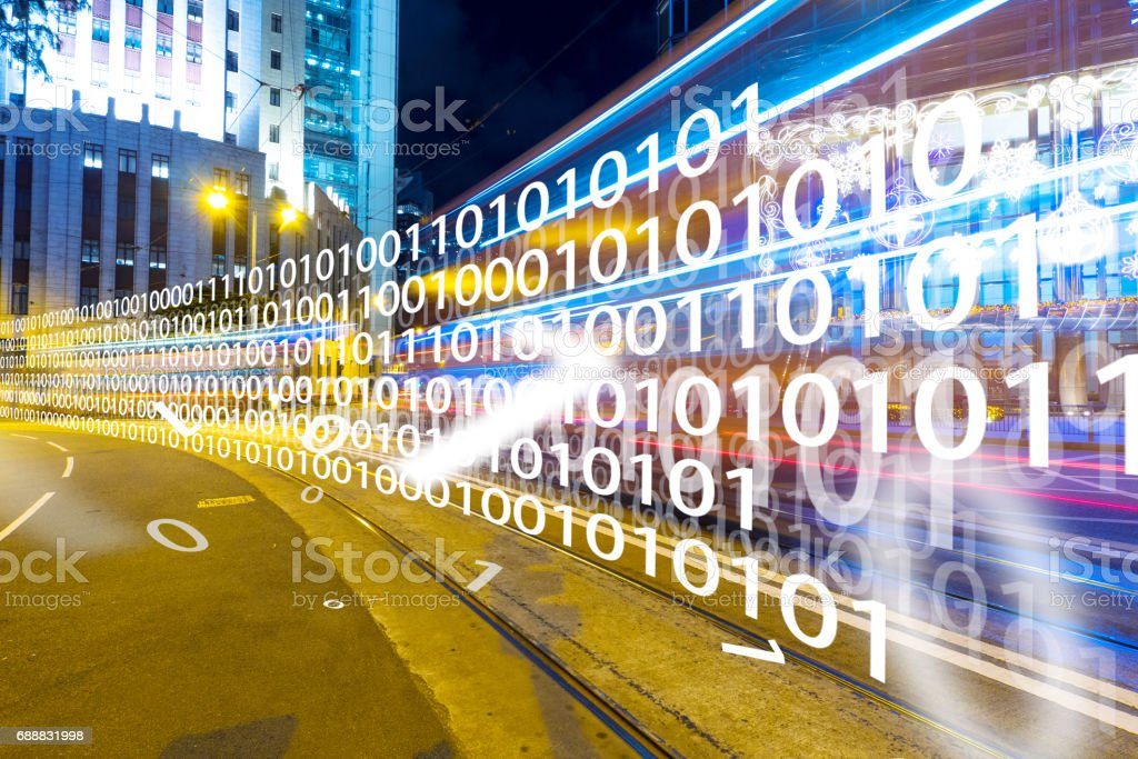 intelligence traffic on road in modern city stock photo