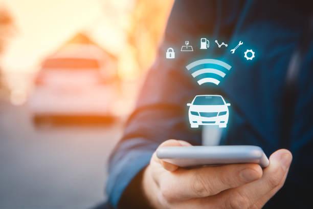 Intelligent car app on smart phone concept stock photo