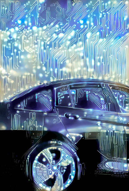 Intelligent car in Interconnected smart city with autonomous cars stock photo