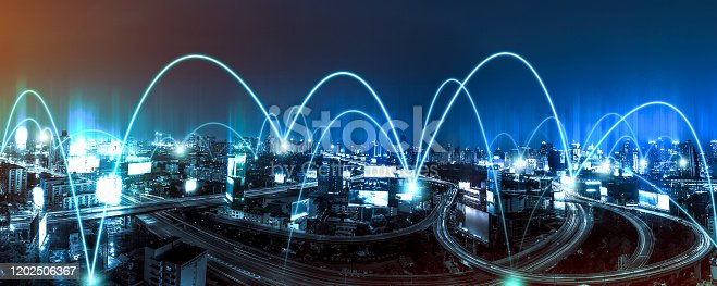 istock Intelligent city networks and communication in the age of AI (wireless communication on the world) 1202506367