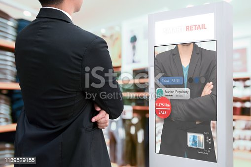 Intelligent Digital Signage , Augmented reality marketing and face recognition concept. Smart glass interactive artificial intelligence digital advertisement in fashion retail shopping Mall.