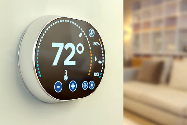 Intelligente home automation system:  Fahrenheit Temperatur multimedia-thermostat – Foto