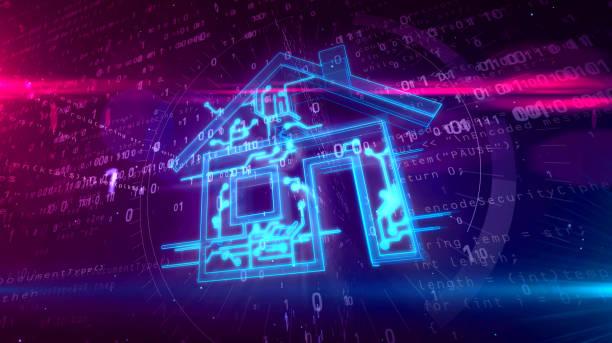 intelligent house iot concept 3d illustration - telecomando background foto e immagini stock