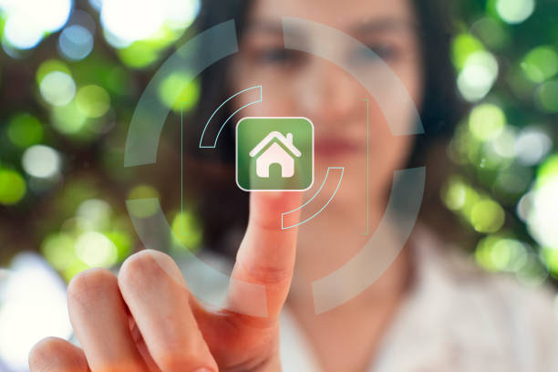 Intelligent house, smart home and home automation concept. Symbol of the house and wireless communication. stock photo