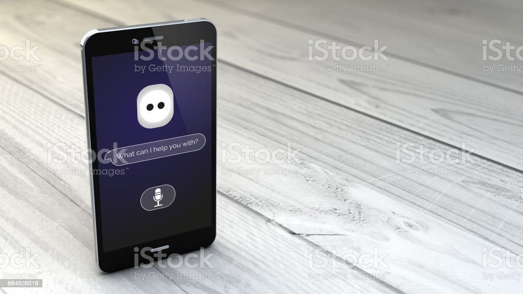 intelligente Assistentin auf Smartphone über weißem Holz Hintergrund – Foto