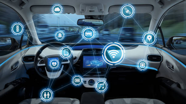 intelligent vehicle cockpit and wireless communication network concept - self driving car stock photos and pictures