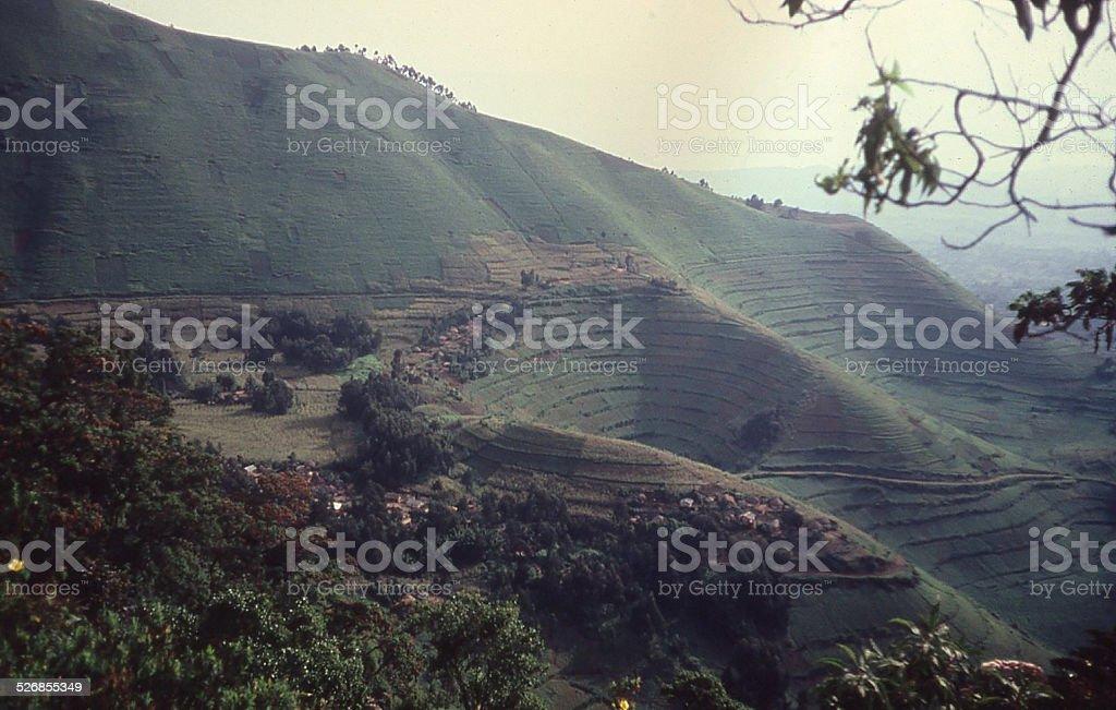 Intense Agriculture on Steep Slopes Volcanic Cinder Cone Gisenyi Rwanda stock photo
