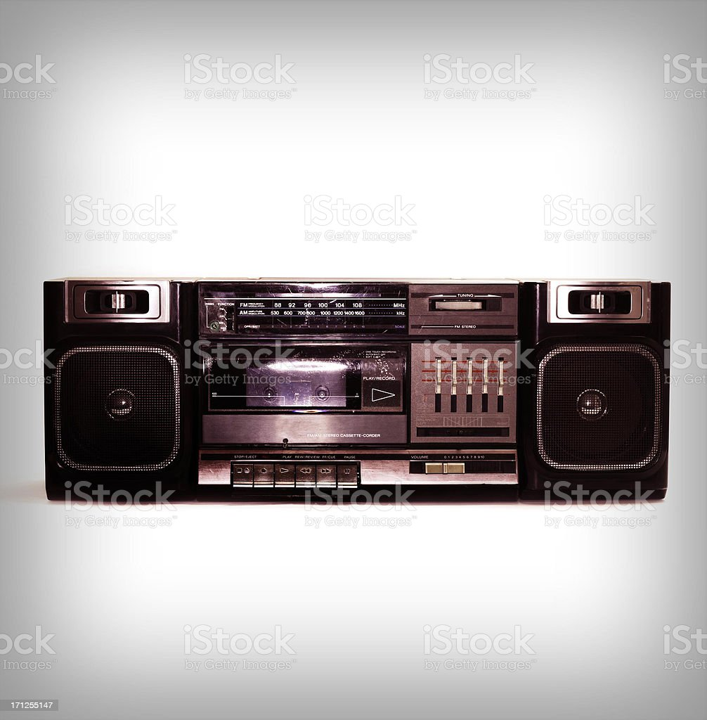 intense black boombox centered with white background and fade border stock photo