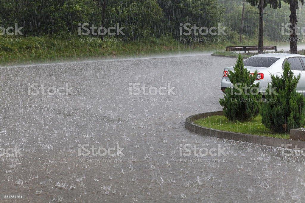 Intense hail and rain stock photo