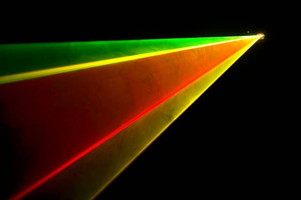 Intense light beams produced during RGY laser aerial display stock photo