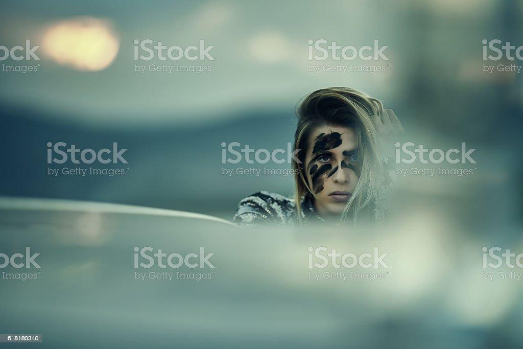 intense look of warrior woman stock photo