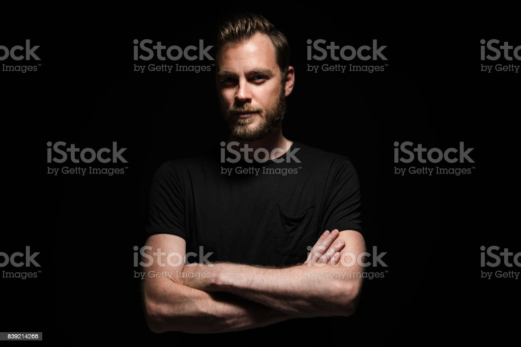 Intense portrait of a man with beard stock photo