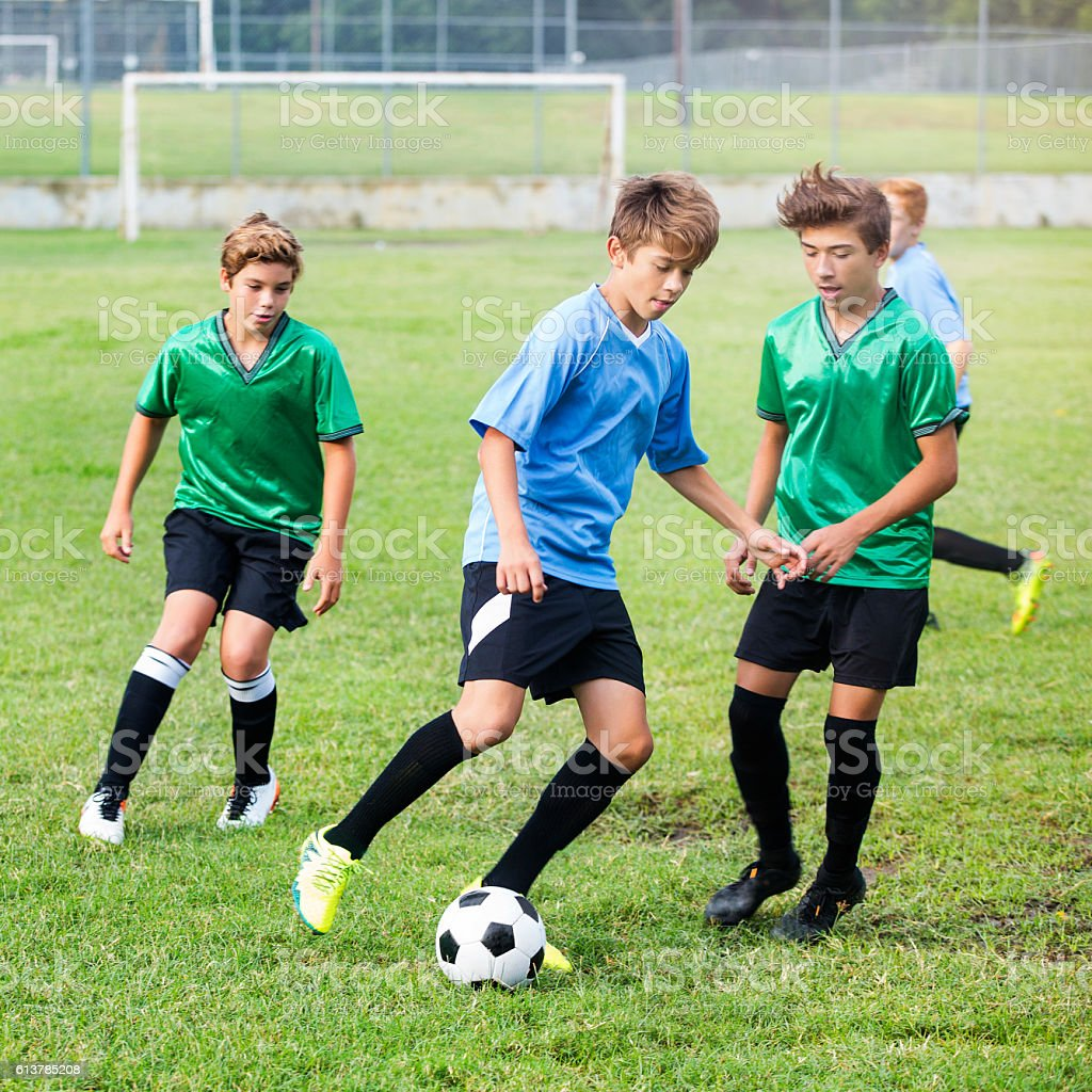 Intense soccer players during game – Foto