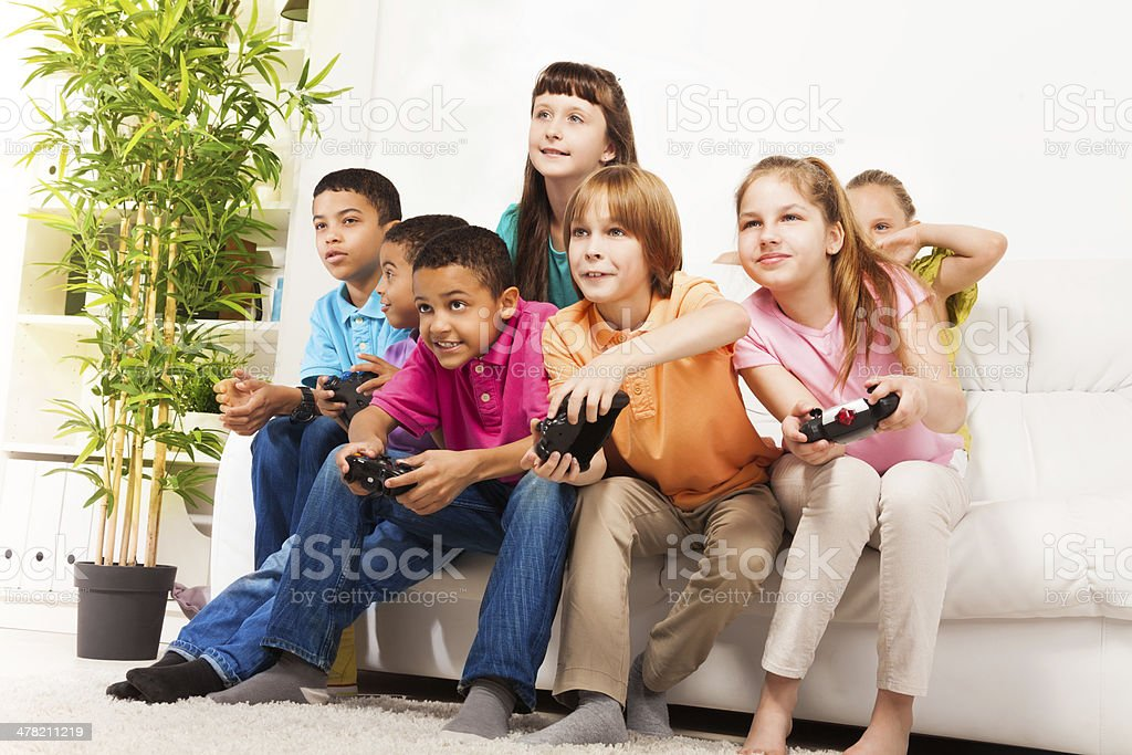 Intense video game with friends stock photo
