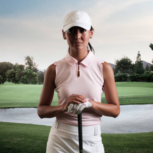 intense women golfer - female golfer stock photos and pictures