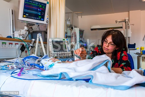 Intensive Care Mother And Child Stock Photo & More Pictures of Acute Angle