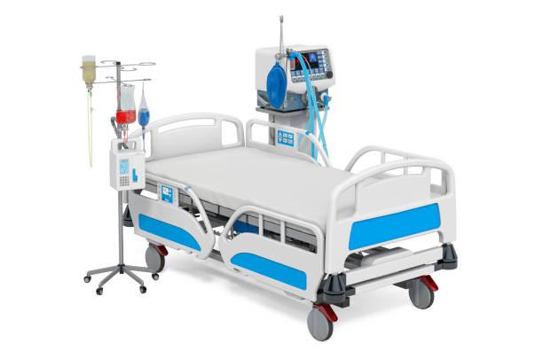 intensive care, icu. medische beademing, verstelbaar ziekenhuisbed en druppelaar. 3d-rendering - ventilator bed stockfoto's en -beelden