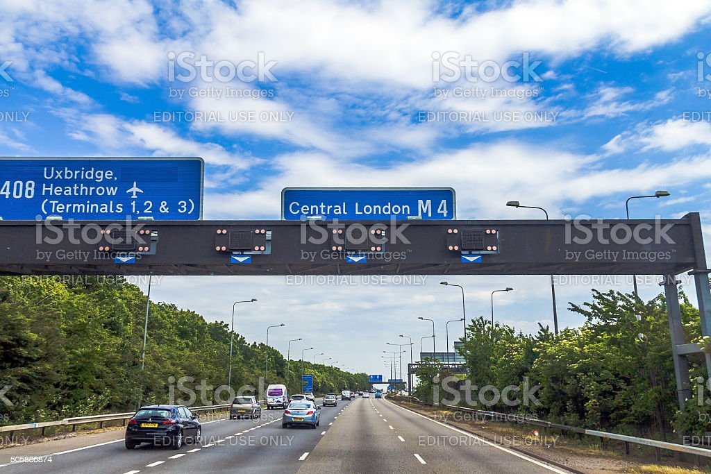 Intensive left-hand traffic on British roads between Windsor and London stock photo