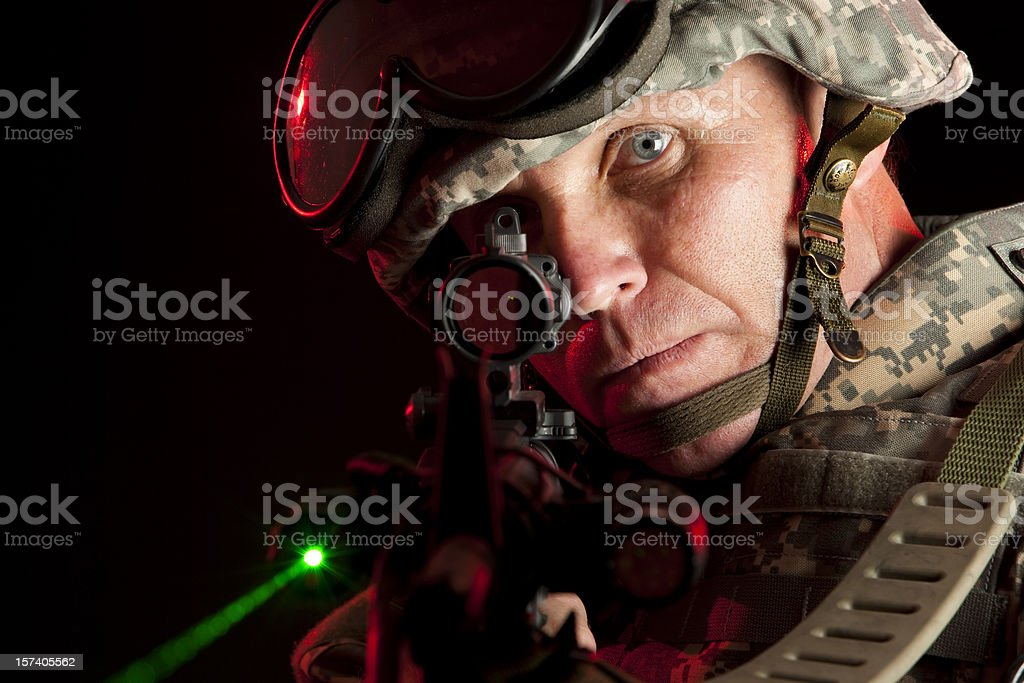 Intent Special Forces Soldier on Point stock photo