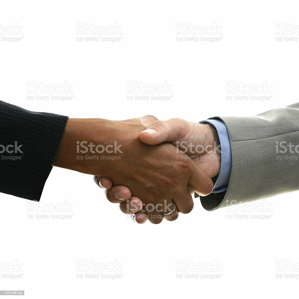 Interacial hand shaking. royalty-free stock photo