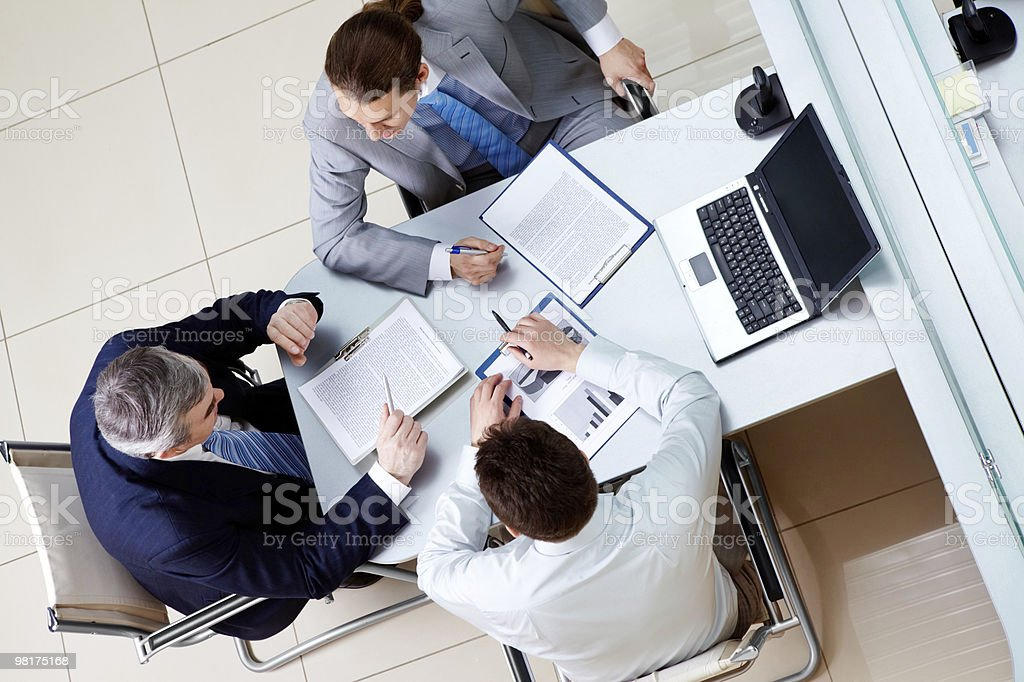 Interacting men royalty-free stock photo