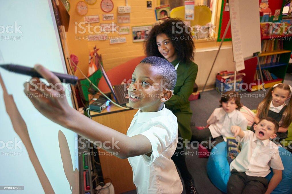 interactive board in class stock photo