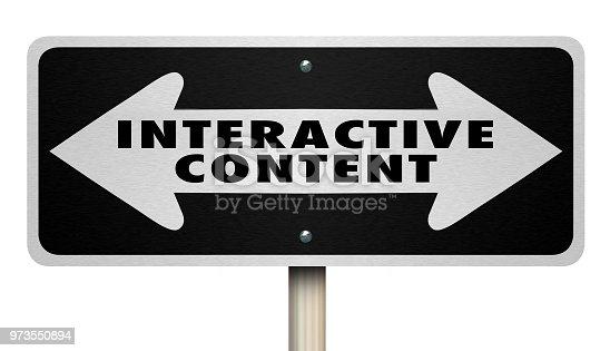 istock Interactive Content Sign Two Way ArrowsWords 3d Render Illustration 973550894