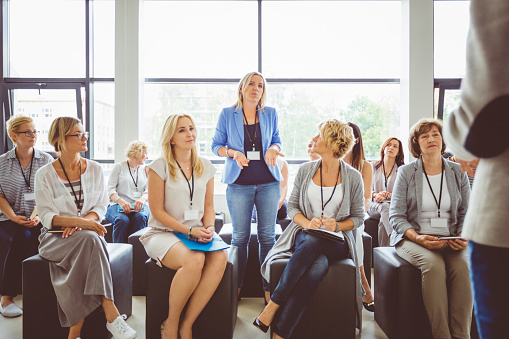 Interactive Question And Answer Session During Seminar Stock Photo - Download Image Now