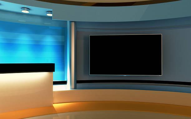 Interactive Studio BackgroundTv News Stock Photo