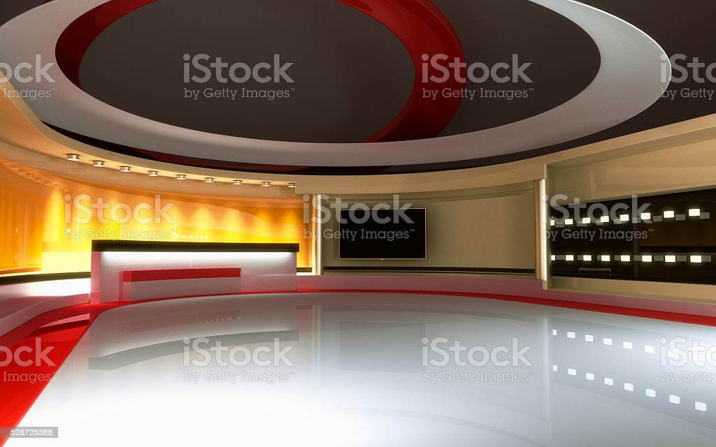 Interactive studio background.Tv Studio. News studio. stock photo